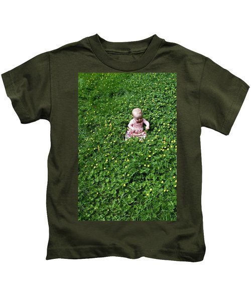 Baby In A Field Of Flowers Kids T-Shirt