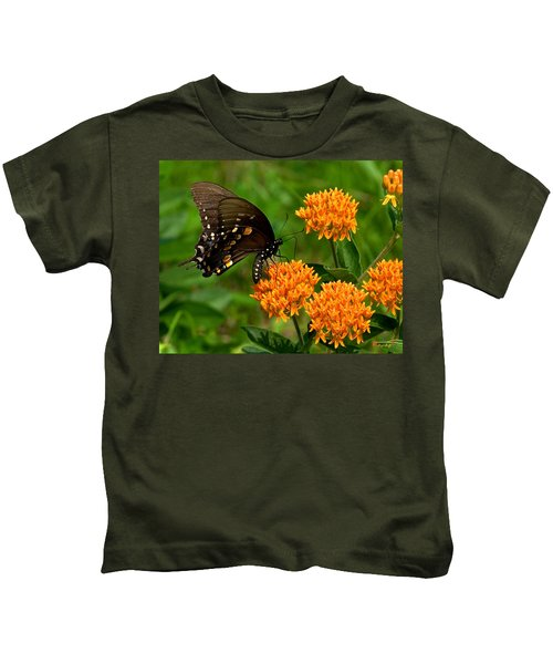 Black Swallowtail Visiting Butterfly Weed Din012 Kids T-Shirt