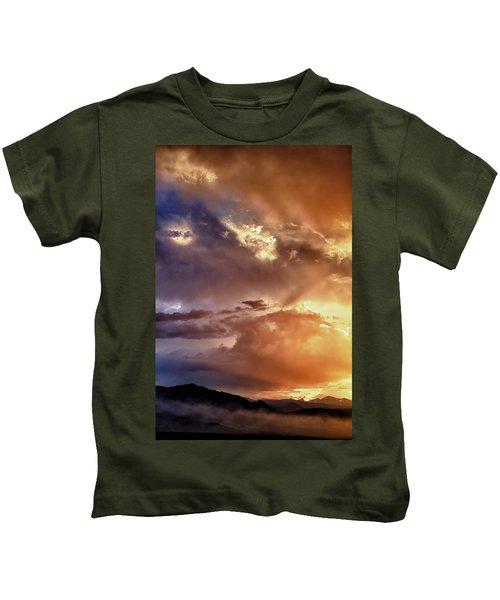 Boulder Colorado Smoky Sunset  Kids T-Shirt