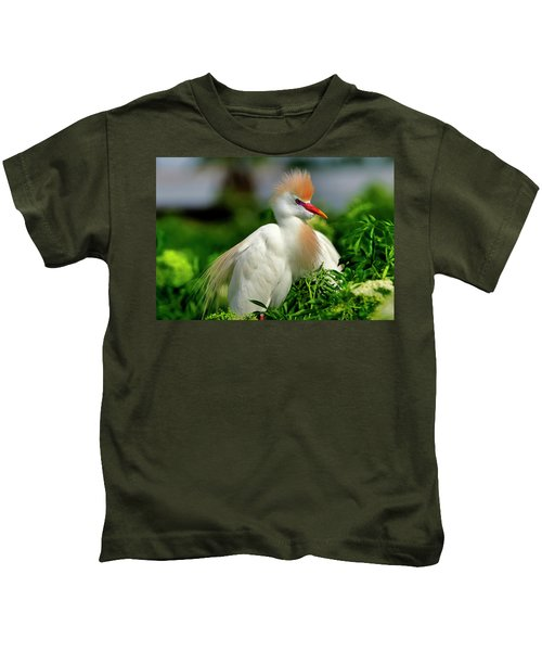 Colorful Cattle Egret Kids T-Shirt