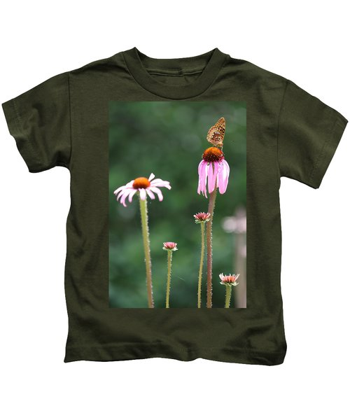 Coneflowers And Butterfly Kids T-Shirt