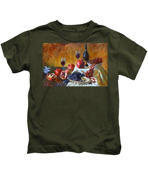 Grapes And Pomgranates Kids T-Shirt