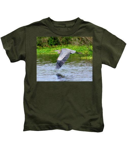 Great Blue Heron Inflight Kids T-Shirt