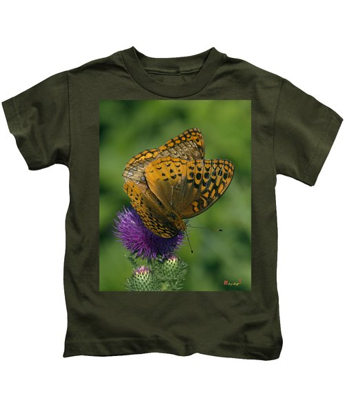 Great Spangled Fritillaries On Thistle Din108 Kids T-Shirt