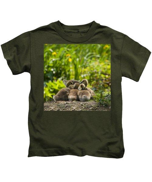 Huddled Goslings Baby Geese Along River's Edge Kids T-Shirt