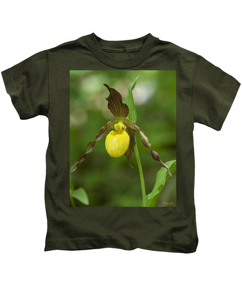 Large Yellow Lady Slipper Orchid Dspf0251 Kids T-Shirt