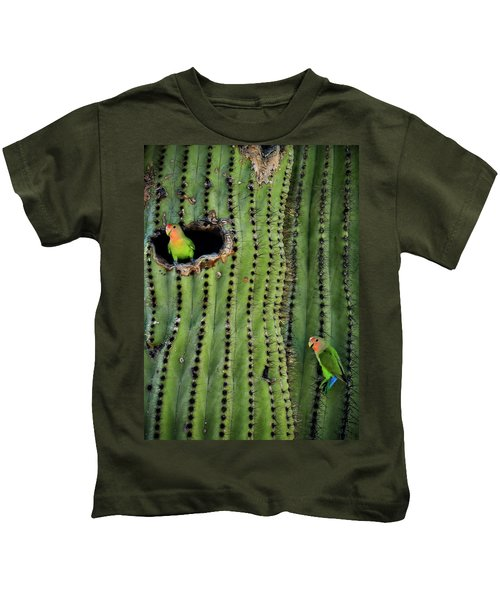 Lovebirds And The Saguaro  Kids T-Shirt