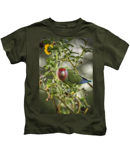 Lovely Little Lovebird Kids T-Shirt by Saija  Lehtonen