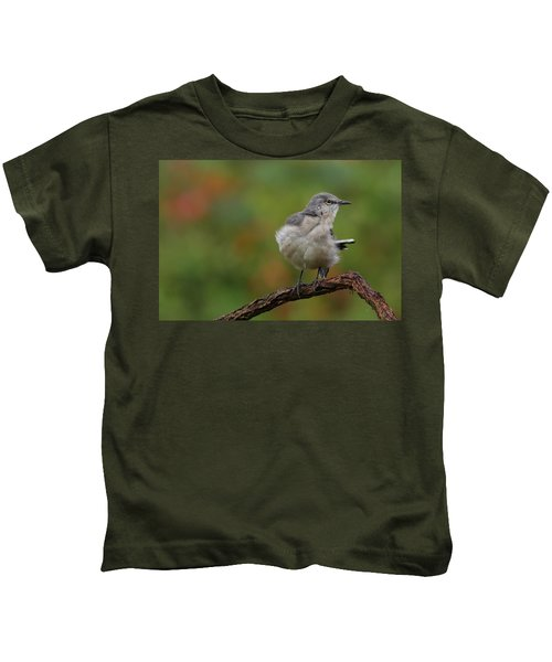 Mocking Bird Perched In The Wind Kids T-Shirt
