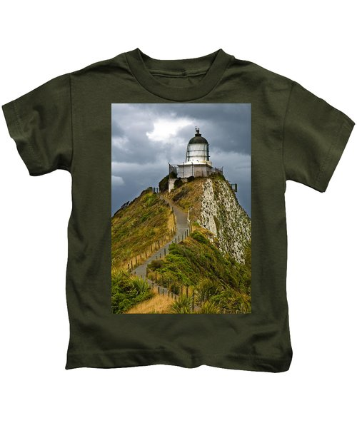 Nugget Point Light House And Dark Clouds In The Sky Kids T-Shirt