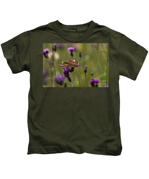 Peacock Butterfly On Knapweed Kids T-Shirt