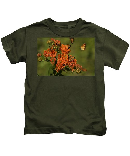 Pearly Crescentpot Butterflies Landing On Butterfly Milkweed Kids T-Shirt