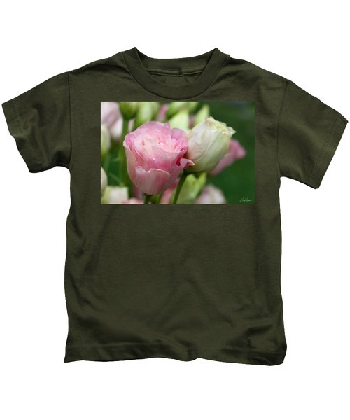 Pink And White Lisianthus Kids T-Shirt