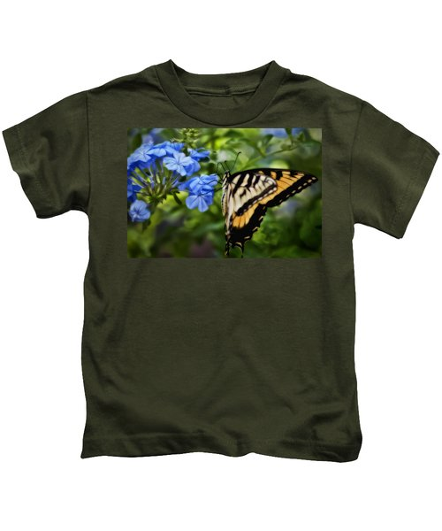Plumbago And Swallowtail Kids T-Shirt