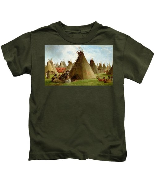 Prairie Indian Encampment Kids T-Shirt