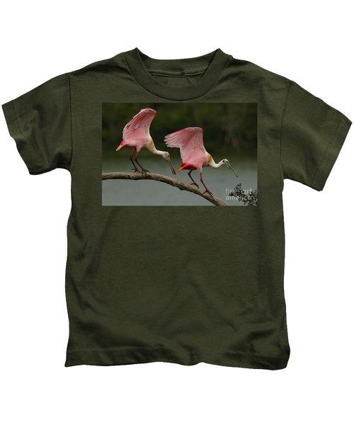 Rosiette Spoonbills Kids T-Shirt by Bob Christopher