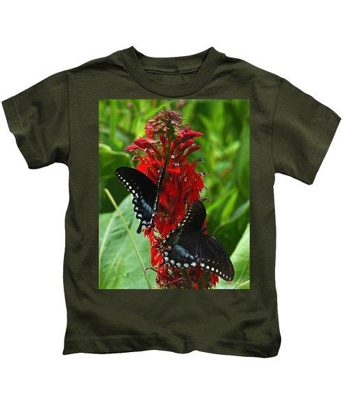 Spicebush Swallowtails Visiting Cardinal Lobelia Din041 Kids T-Shirt