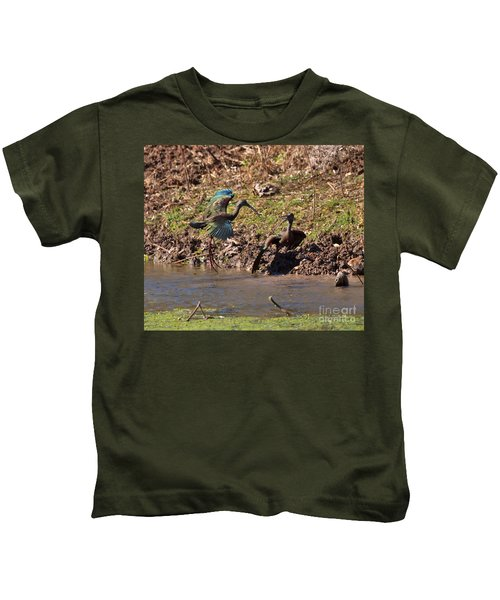 White-faced Ibis Mating Behavior In Early Spring Kids T-Shirt