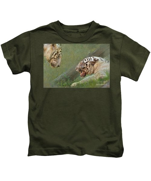 White Tiger Growling At Her Mate Kids T-Shirt