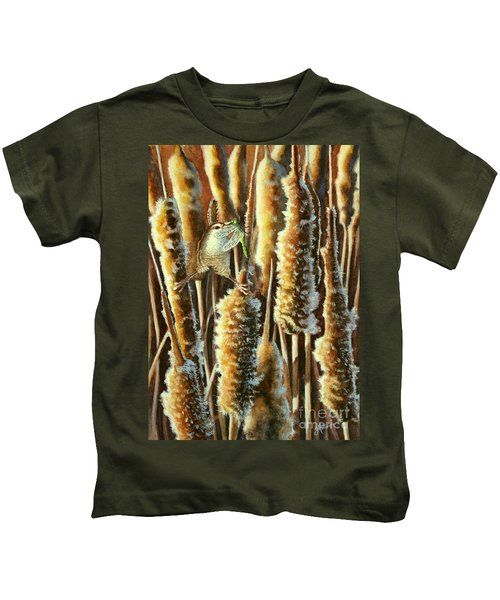 Wren And Cattails 2 Kids T-Shirt