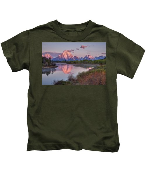 Alpenglow At Oxbow Bend Kids T-Shirt