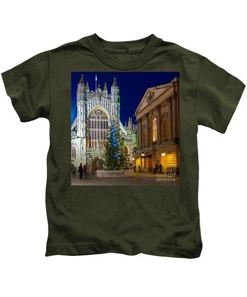Bath Abbey At Night At Christmas Kids T-Shirt