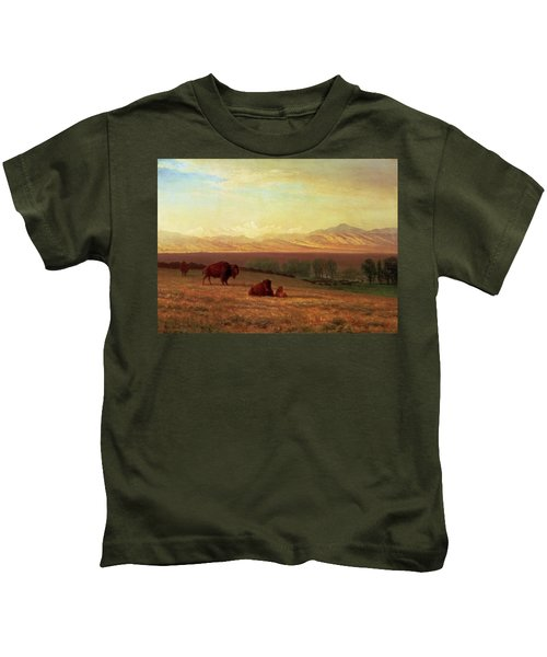 Buffalo On The Plains Kids T-Shirt by MotionAge Designs