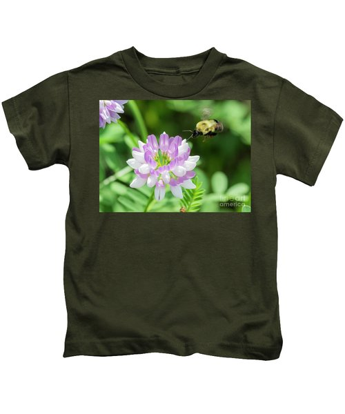 Bumble Bee Pollinating A Flower Kids T-Shirt