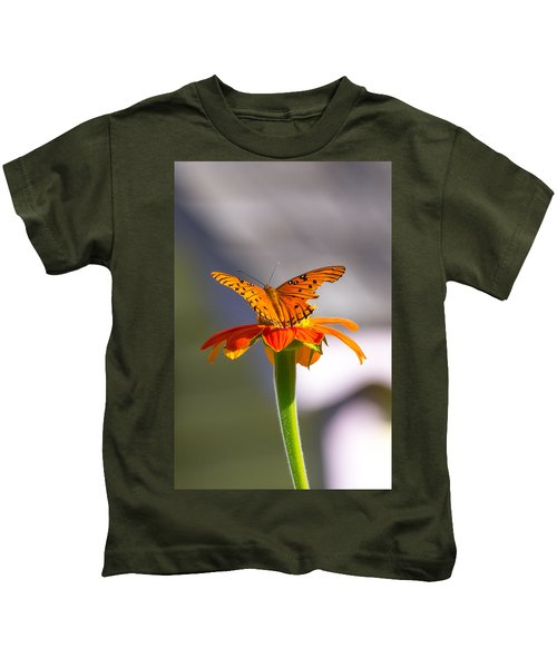 Kids T-Shirt featuring the photograph Butterfly On Flower by Willard Killough III