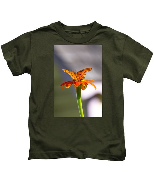 Butterfly On Flower Kids T-Shirt