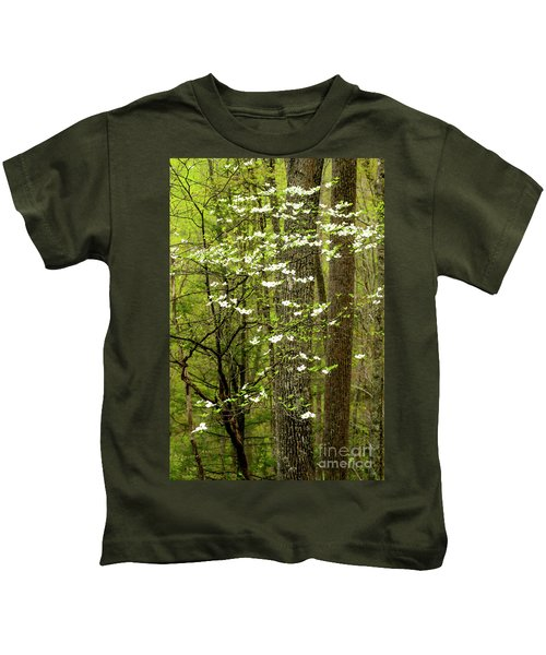 Dogwood Blooming In Forest Kids T-Shirt