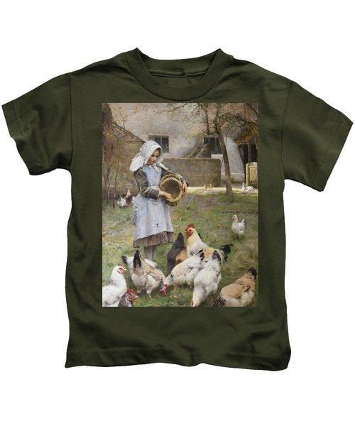Feeding The Chickens Kids T-Shirt