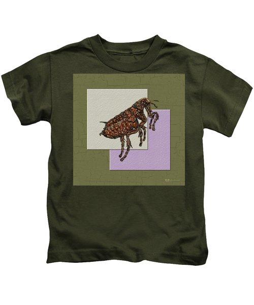 Flea On Abstract Beige Lavender And Dark Khaki Kids T-Shirt