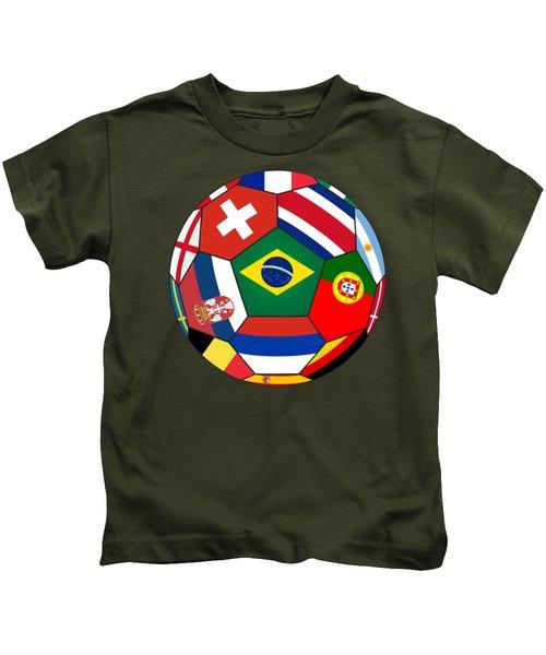 Football Ball With Various Flags Kids T-Shirt