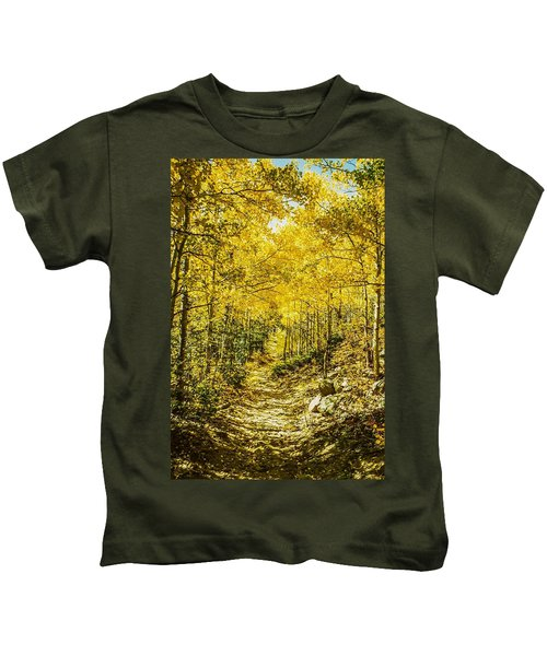 Golden Aspens In Colorado Mountains Kids T-Shirt