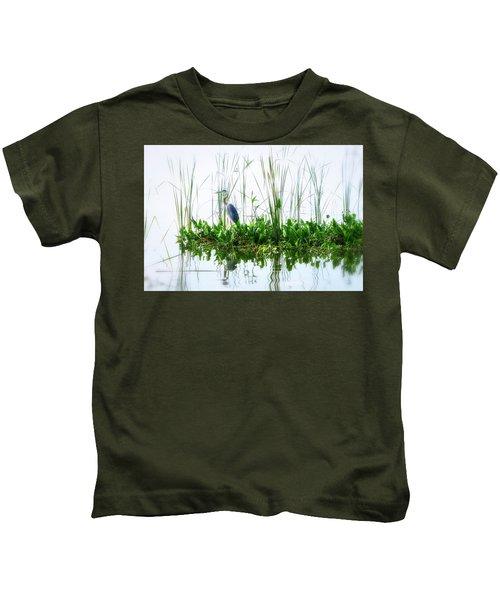 Great Blue On Green Island Kids T-Shirt