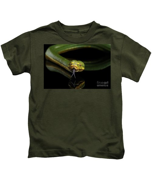 Green Tree Python. Morelia Viridis. Isolated Black Background Kids T-Shirt