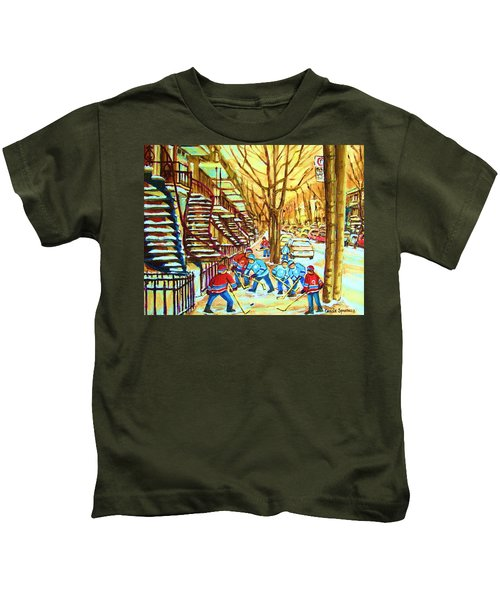 Hockey Game Near Winding Staircases Kids T-Shirt