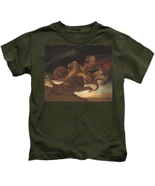 Lions In A Mountainous Landscape Kids T-Shirt