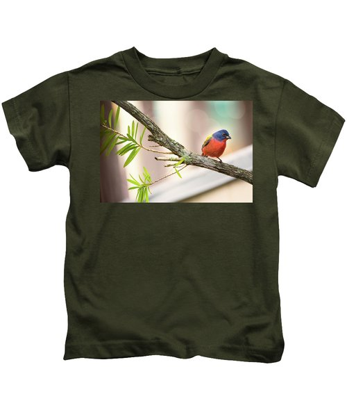 Male Painted Bunting Kids T-Shirt