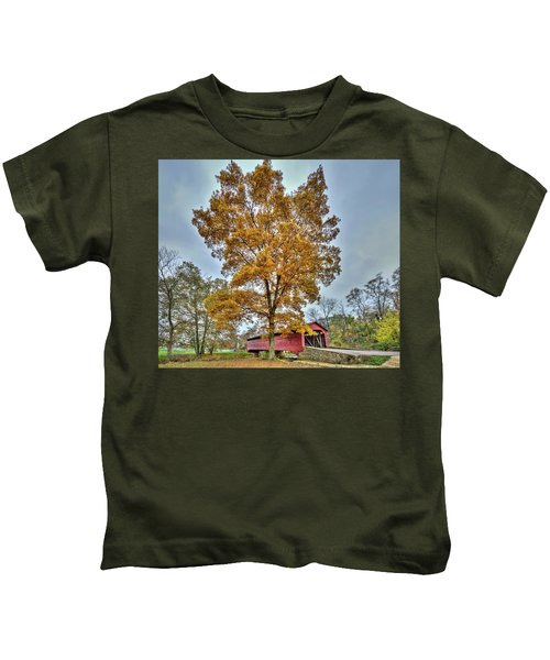Maryland Covered Bridge In Autumn Kids T-Shirt