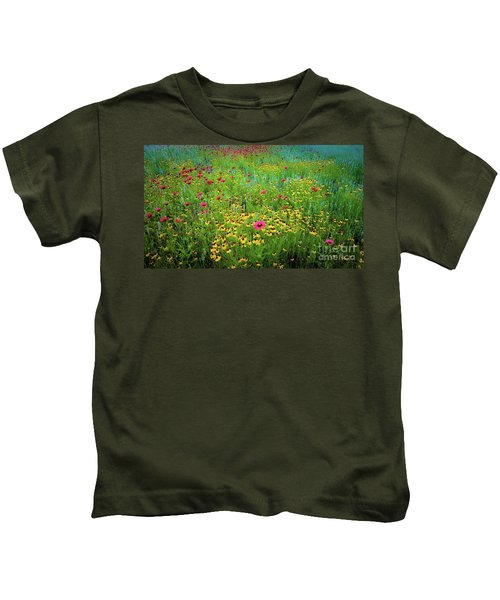 Mixed Wildflowers In Bloom Kids T-Shirt
