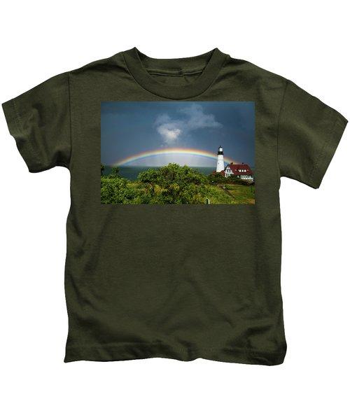 Rainbow At Portland Headlight Kids T-Shirt