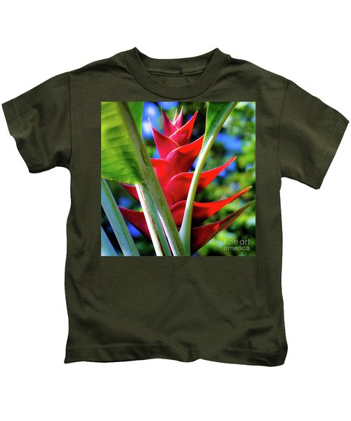 Red Heliconia Hawaii Kids T-Shirt