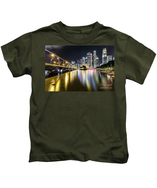 Singapore River At Night With Financial District In Singapore Kids T-Shirt