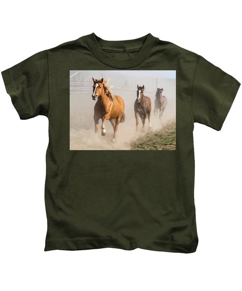 Sombrero Ranch Horse Drive At The Corrals Kids T-Shirt