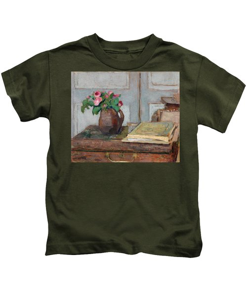 The Artist's Paint Box And Moss Roses Kids T-Shirt