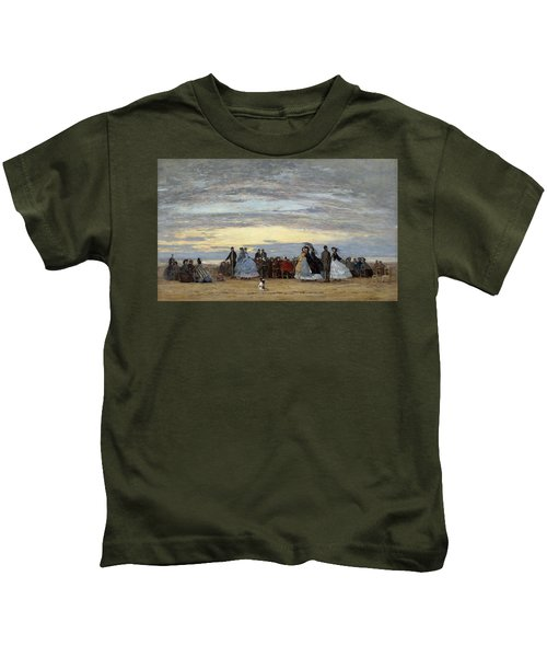 The Beach At Villerville Kids T-Shirt
