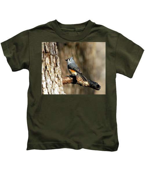 Tufted Titmouse On Branch Kids T-Shirt