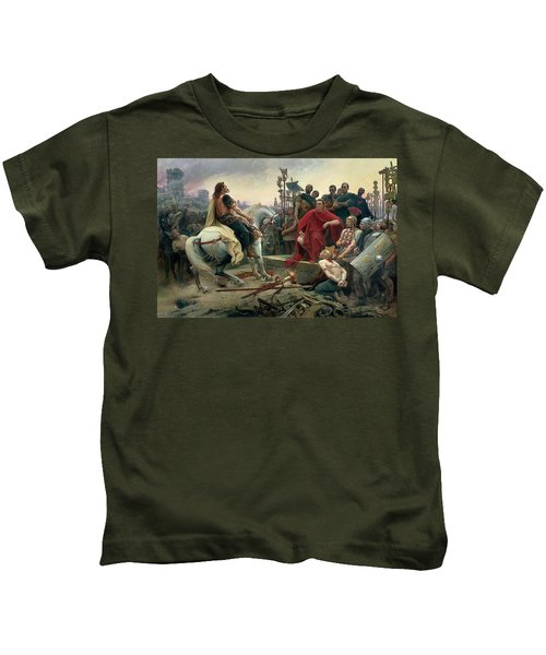 Vercingetorix Throws Down His Arms At The Feet Of Julius Caesar Kids T-Shirt